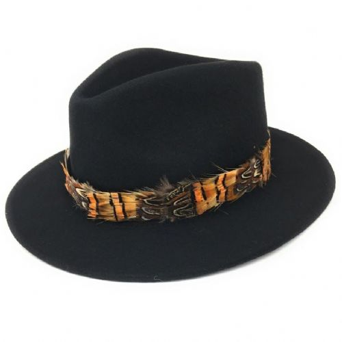 Womens Showerproof Wool Black Fedora Hat with Country Feather Wrap Trim - Mickleton
